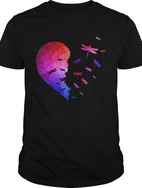 Dragonfly flying heart shirt