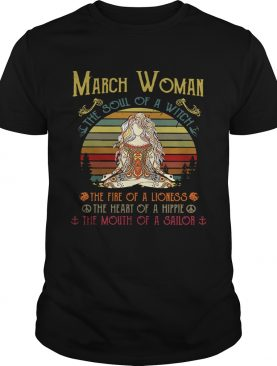 Yoga March woman the soul of a witch the fire of a lioness shirt