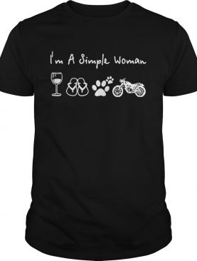 I'm a simple woman I love wine flip flop dog paw and camping shirt