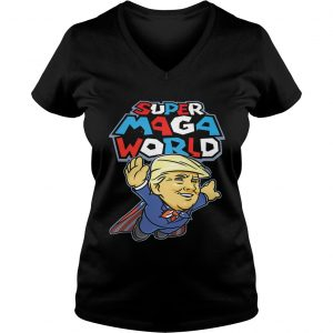 Ladies Vneck Donald Trump Superman Super MAGA world super American AF shirt
