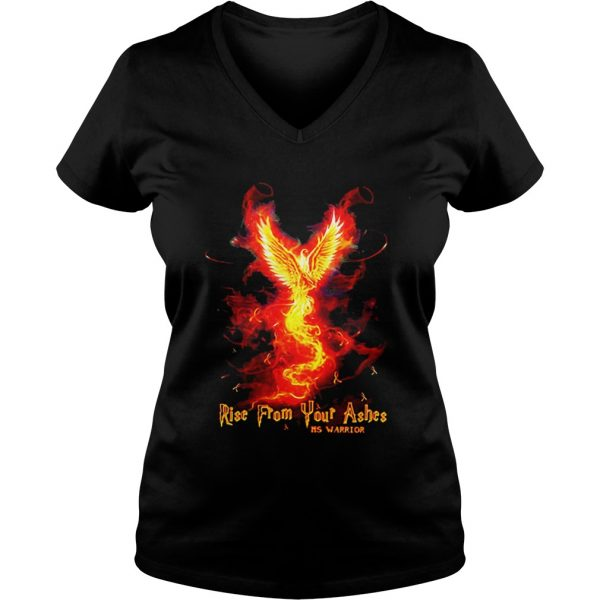Ladies Vneck RiseFrom Your Ashes MS Warrior shirt