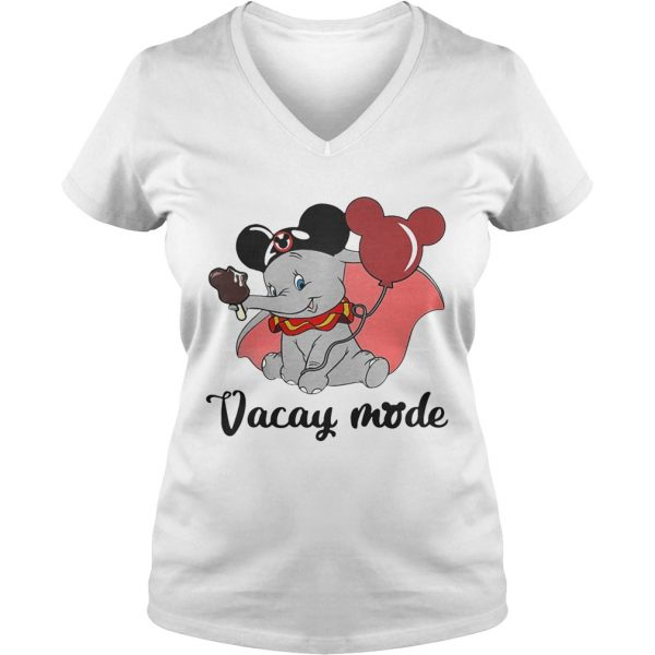 Dumbo loves Mickey Mouse vacay mode Ladies Vneck
