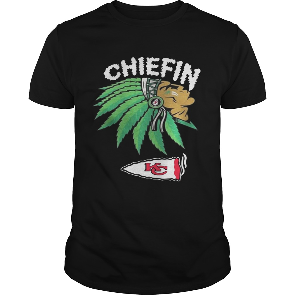 Wholesale Kansas City Chiefs Chiefin Weed Smoke shirt Trend T Shirt Store Online  for sale
