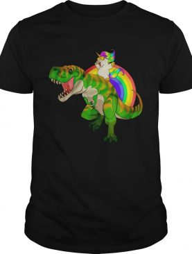 Rainbow Unicorn Riding T-Rex Shirt