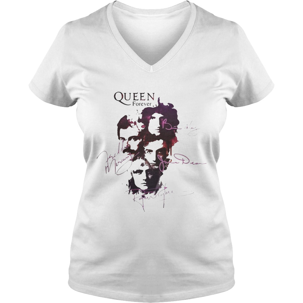 6455be95 Ladies Vneck Queen Queen band Queen forever all signatures Freddie Mercury  shirt