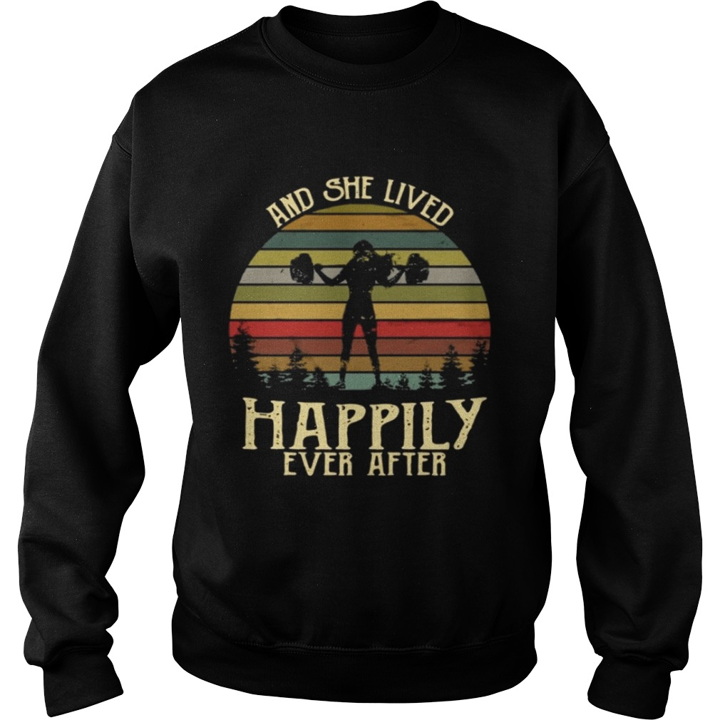 And She Lived Happily Ever After Weightlifting Gymer Vintage Black T-Shirt S-6XL