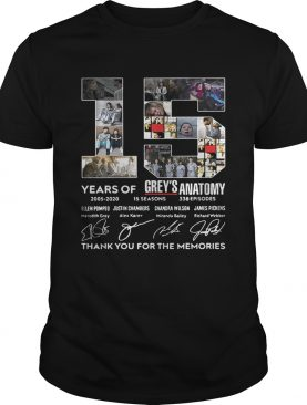 15 Years Of Grey's Anatomy Thank You For The Memories tshirt