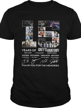15 Years of Greys Anatomy thank you for the memories signature shirt