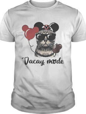 Cat with Mickey Mouse ears vacay mode shirt