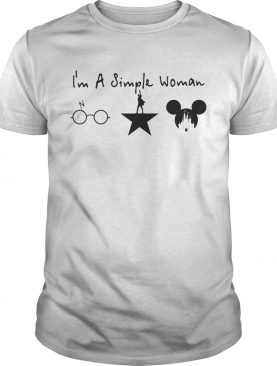 I'm a simple woman Harry Potter Avenger and Disney Mickey shirt