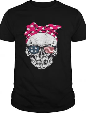 Skull lady with American flag sunglasses shirt