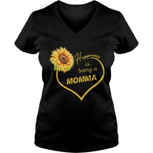 Happiness Is Being A Momma Sunflower Ladies Vneck