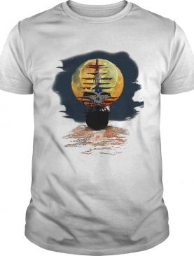 America skull full moon night and the ship shirt
