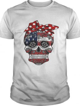 American lag sugar skull with flowers shirt