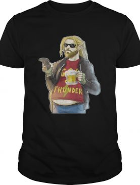 Avengers Endgame fat Thor drinking beer playing game tshirt