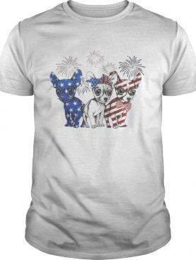 Chihuahua blue white and red American flag shirt