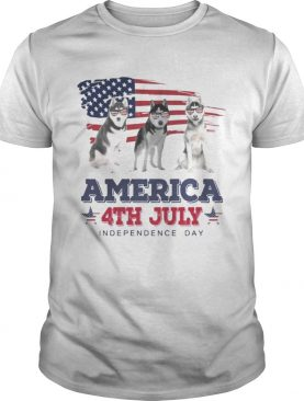 Cool Husky America 4th July Independence Day T-shirt