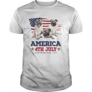 Guys Cool Pug America 4th July Independence Day Tshirt