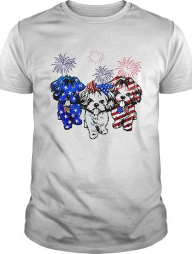 Independence day 4th of July Shih Tzu beauty America flag shirt