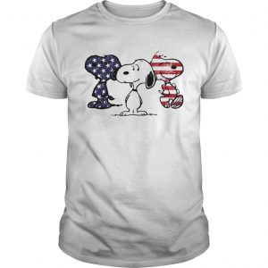 Guys Independence day 4th of July Snoopy beauty America flag shirt