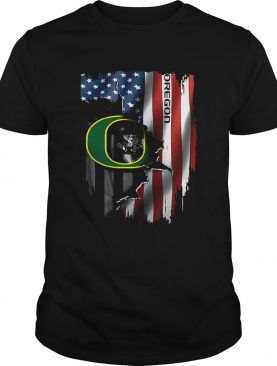 Oregon Ducks inside American flag shirt