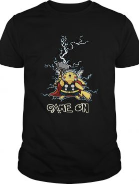 Pikachu being the God of Thunder Thor game on shirt