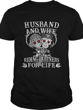 2b4715777c Tattoo and skull Husband and wife riding partners for life shirt