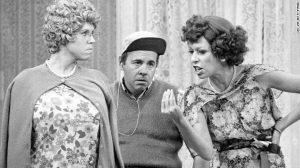 Vicki Lawrence (as Mama Harper) Carol Burnett (as Eunice Higgins), Tim Conway (as Mickey Hart) on 'The Carol Burnett Show' in 1977