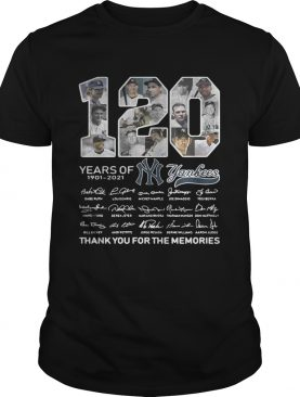 120 years of New York Yankees signature thank you for the shirt