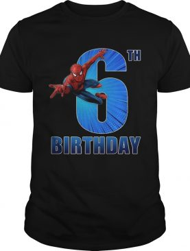 Spiderman Swinging 6th Funny Birthday Youth T-shirt