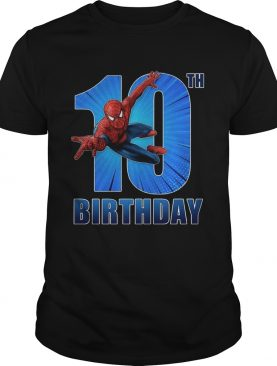 Spiderman Swinging 10th Funny Birthday Youth T-shirt