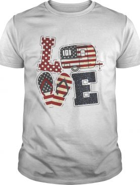 American Flag July 4th Car Sandals Love Shirt