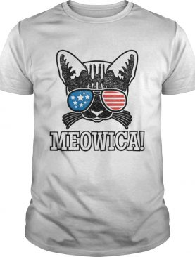 American Flag Patriotic Cat Gift Meowica Shirt