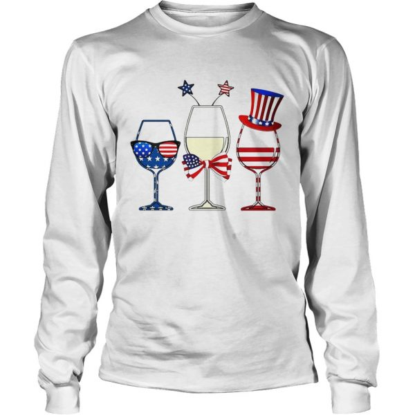 Blue White Red Wine glasses 4th of July  LongSleeve