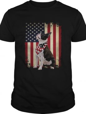 Boston Terrier dog American flag Shirt