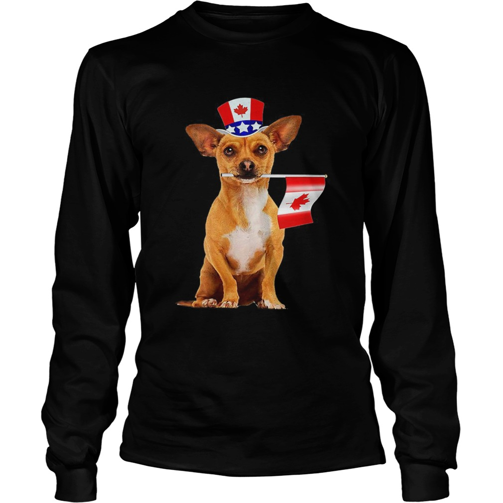 CanadaMaple Leaf Chihuahua Canadian Flags LongSleeve