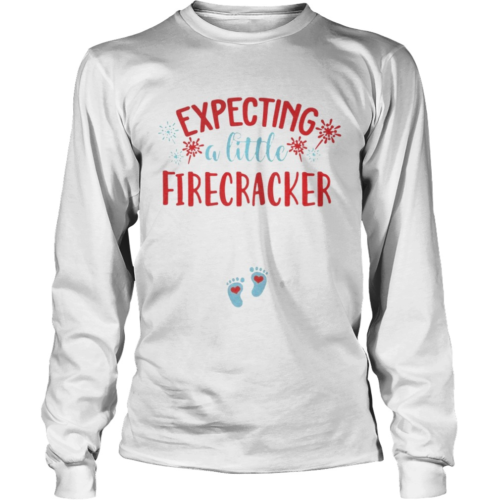Expecting A Little Firecracker Funny Pregnancy Announcement 4th TShirt LongSleeve