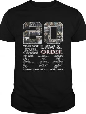 20 years of Law and Order 1990 2010 20 seasons 456 episodes shirt
