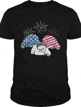 American Flag Sloths For Independence Day Funny T-shirt