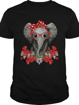 Red bow elephant with flowers shirt