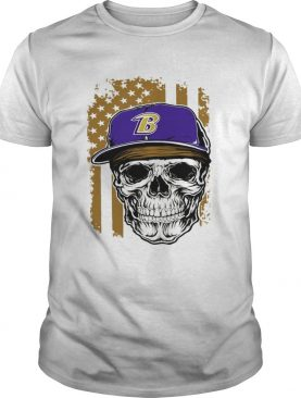 Skull hat Baltimore Ravens American flag shirt
