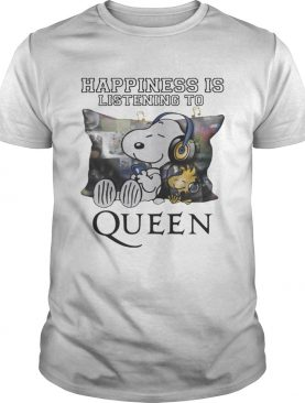 Snoopy and Woodstock happiness is listening to queen shirt