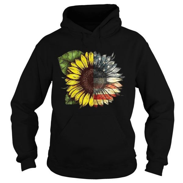 Sunflower American USA flag 4th of july  Hoodie
