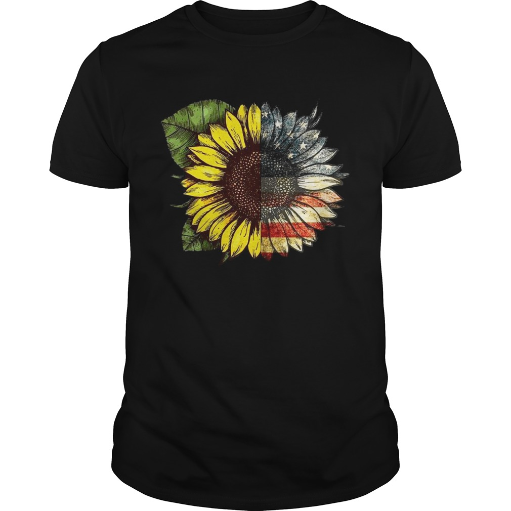 Sunflower American USA flag 4th of july Unisex
