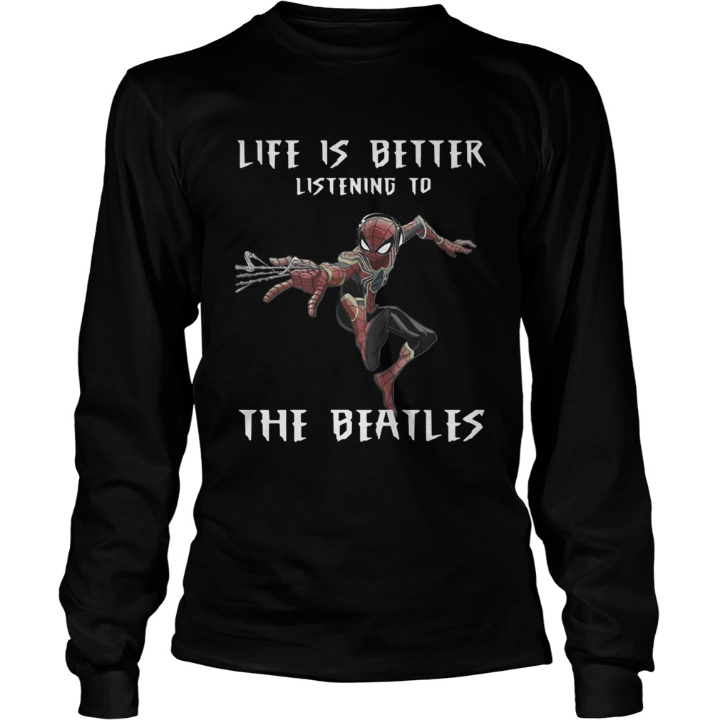 1562292669Spider Man life is better listening to the Beatles LongSleeve