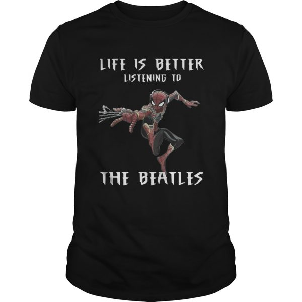 1562292669Spider Man life is better listening to the Beatles  Unisex