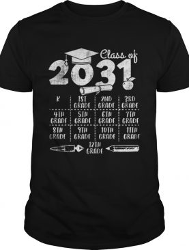 Class of 2031 Back to School with space for checkmarks shirt