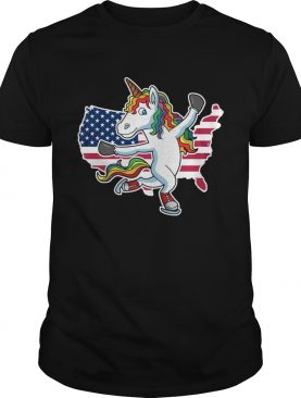 Figure Skating Unicorn American flag shirt