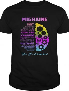 Migraine yes it is all in my head shirt