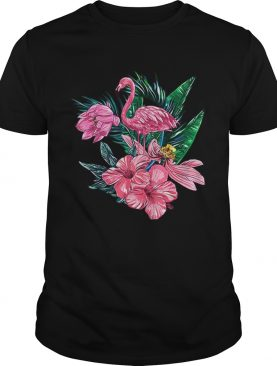 Pink Flamingo Watercolor Hawaiian Flowers Floral shirt